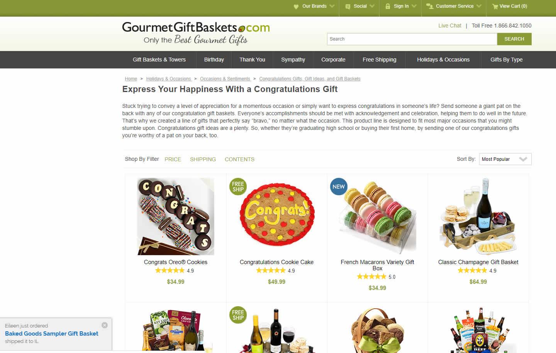 Gourmet Gift Baskets SEO Portfolio Example